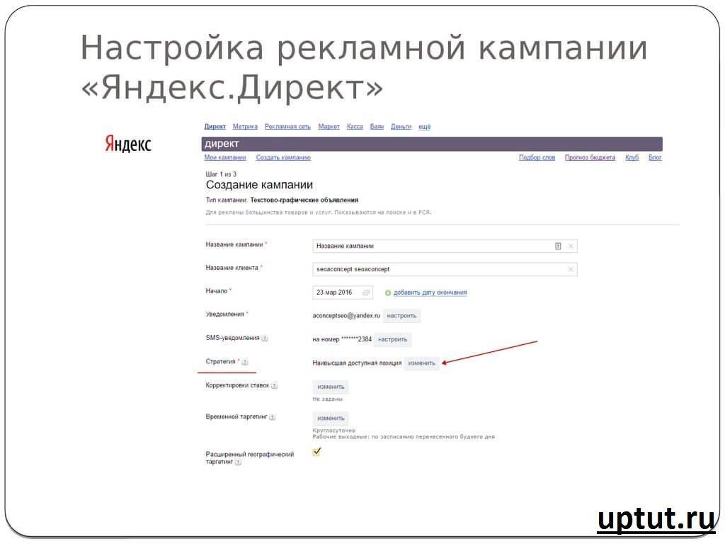 Настройка рекламной кампании в Яндекс Директ
